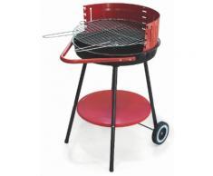 Barbecue A Carbone Carbonella Tondo Ø50 Cm Con Ruote Soriani Sun-day Rosso