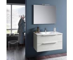 Mobile Da Bagno Sospeso Con Lavabo Specchio E Lampada A Led Tft Luna Bianco Rè Di Londra