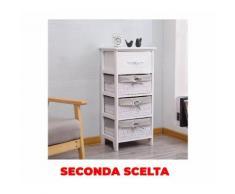 Cassettiera 4 Cassetti In Legno Massello 40x30x88 Cm Fumer Carol Bianca Seconda Scelta