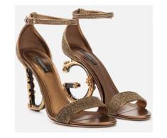 Dolce & Gabbana Sandalo In Lurex Con Tacco Scultura