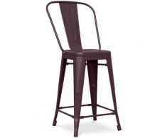 Sgabello da bar Tolix quadrati con schienale Pauchard Style - 60cm Bronzo