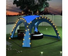 Tenda per Feste con LED e 4 Pareti 3,6x3,6x2,3 m Blu
