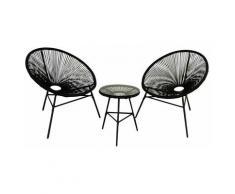 Set di mobili da giardino e terrazza Acapulco, 2 posti, tavolo, nero, rattan sintetico, sedie