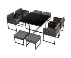 Set Mobili da Giardino Set Salottino Salvaspazio Composto di 1 Tavolo con Piano in Vetro, 4