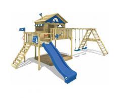 WICKEY Parco giochi in legno Smart Ocean Giochi da giardino con altalena e scivolo blu Casa su