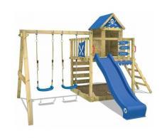 WICKEY Parco giochi in legno Smart Cave Giochi da giardino con altalena e scivolo blu Casetta da