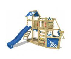 WICKEY Parco giochi in legno OceanFlyer Giochi da giardino con altalena e scivolo blu Casetta da