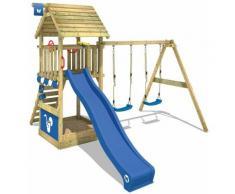 WICKEY Parco giochi in legno Smart Shelter Tetto in legno Giochi da giardino con altalena e scivolo