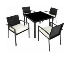 Set di mobili da giardino Meran 4+1 - arredo giardino, tavoli da giardino, sedie da giardino - nero