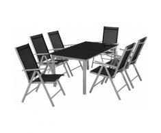 set di sedute e tavolo in alluminio 6+1 - tavoli e sedie, tavolo e sedie, tavolo con sedie - grigio
