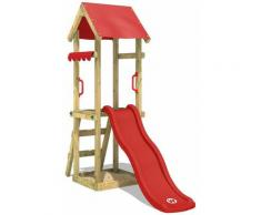 WICKEY Parco giochi in legno TinySpot rosso Torre d'arrampicata da esterno con sabbiera e scala di