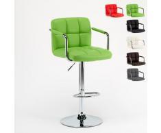 Sgabello da bar cucina alto girevole regolabile con schienale e braccioli LAS VEGAS | Verde 2