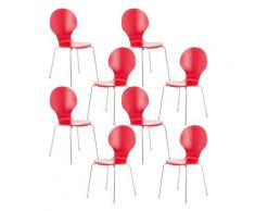 Set 8 Sedie Impilabili in Legno Robusto Sedia Attesa Industriale vari colori colore : Rosso
