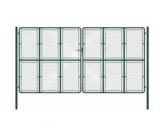 Cancello di Recinzione per Giardino in Acciaio 400x200 cm Verde - Verde - Vidaxl