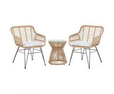 Set da balcone in rattan marrone chiaro 2 sedie cuscini grigio chiaro TRESTINA