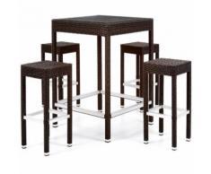 Set Maiorca Colore Caffe Polyrattan Struttura Alluminio Tavolino E 4 Sgabelli