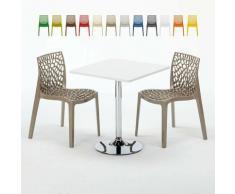 Tavolino Quadrato Bianco 70x70 cm con Base in Acciaio e 2 Sedie Colorate GRUVYER COCKTAIL | Beige