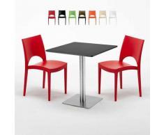 Tavolino Quadrato Nero 70x70 cm con 2 Sedie Colorate PARIS RUM RAISIN | Rosso
