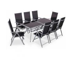 Salotto da giardino in alluminio e textilene - modello: Naevia - Grigio, Nero - 1 grande tavolo