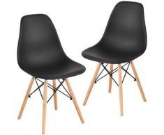 Sedie per sala da pranzo 2 set sedie da ufficio per soggiorno sedia da cucina sedia in PP nera