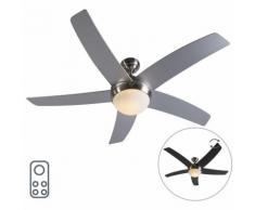 QAZQA Ventilatori da soffitto cool - Design - Vetro,Legno,Acciaio - Nero/Grigio/Acciaio - Tondo