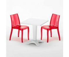 Tavolino Quadrato Bianco 70x70 cm con 2 Sedie Colorate Trasparenti CRISTAL LIGHT TERRACE |
