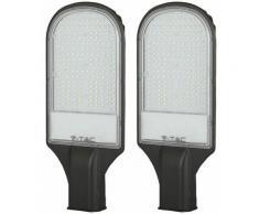 2x Lampione stradale a LED per esterni 100 W Faretto da palo Proiettore industriale Lanterna da