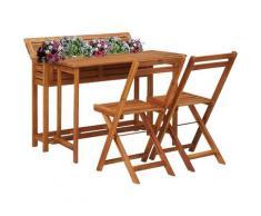 Tavolo con Fioriera da Balcone e 2 Sedie in Massello di Acacia