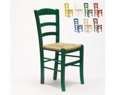 Sedia in legno e seduta impagliata per cucina bar e trattoria rustica PAESANA | Verde