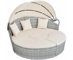 Tectake - divano prendisole in alluminio e rattan - rattan, rattan sintetico - grigio chiaro