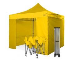 Gazebo rapido 3x3 gialloin alluminio rinforzato con laterali PVC 350g metro. Gazebo pieghevole
