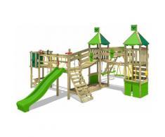 FATMOOSE Parco giochi in legno FunnyFortress Giochi da giardino con altalena SurfSwing e scivolo