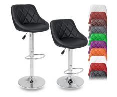 ® Set di 2 Sgabelli-Bar moderni, Sedia Bar, Sgabello Lounge con schienale, 10 colori diversi,