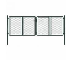 Cancello di Recinzione per Giardino in Acciaio 300x75 cm Verde VD34863 - Hommoo