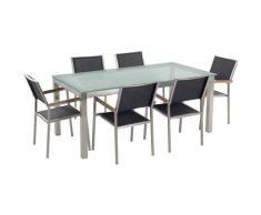 Set da giardino a 6 posti Tavolo in vetro 180cm con sedie nere GROSSETO