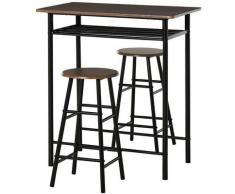 Tavolo Alto Con 2 Sgabelli Per Cucina Sala Bar. Poggiapiedi E Mensola