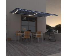 Tenda da Sole Retrattile Manuale con LED 600x350 cm Blu Bianca - Blu - Vidaxl
