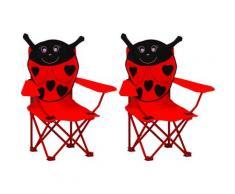 YOUTHUP Sedie da Giardino per Bambini 2 pz Rosse in Tessuto - Rosso