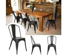 Oobest - Set di 4 Sedie Sala da Pranzo Cucina Bar Stile Industrial Finitura lucida Nero