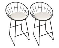 Sedie per sala da pranzo 2 pezzi seduta in similpelle Acciaio nero + cuscino bianco - Noir-blanc