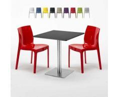 Tavolino Quadrato Nero 70x70 cm con 2 Sedie Colorate GRUVYER KIWI | Rosso