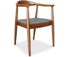 Sedia stile scandinavo Fridolf Wegner Style - Tessuto Grigio chiaro