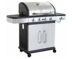 Barbecue A Gas In Acciaio Inox 4 Fuochi + 1 Laterale Per Esterno Giardino, Portico, Terrazzo