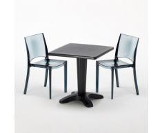 Tavolino Quadrato 70x70 cm e 2 Sedie Colorate Trasparenti CAFFÈ | B-Side Nera Trasparente Antracite