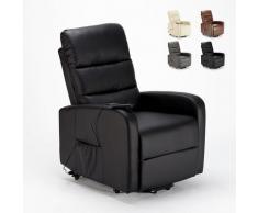 Poltrona relax elettrica reclinabile alzapersona con ruote in similpelle Elizabeth II | Colore: Nero