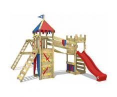 WICKEY Parco giochi in legno Smart Legend 120 Giochi da giardino con altalena e scivolo rosso Torre