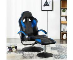 Poltrona Gaming Reclinabile con Poggiapiedi Blu in Similpelle