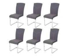 Mendler - Set 6x sedie sala da pranzo design moderno HWC-F36 struttura a slitta tessuto grigio