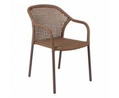 Sedia In Alluminio E Vimini Impilabile