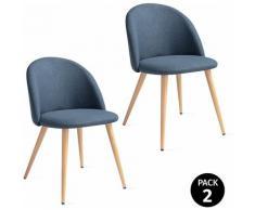 Mc Haus - Pack 2 sedie SOFI blu acciaio nordico design sala da pranzo 49x46x77cm